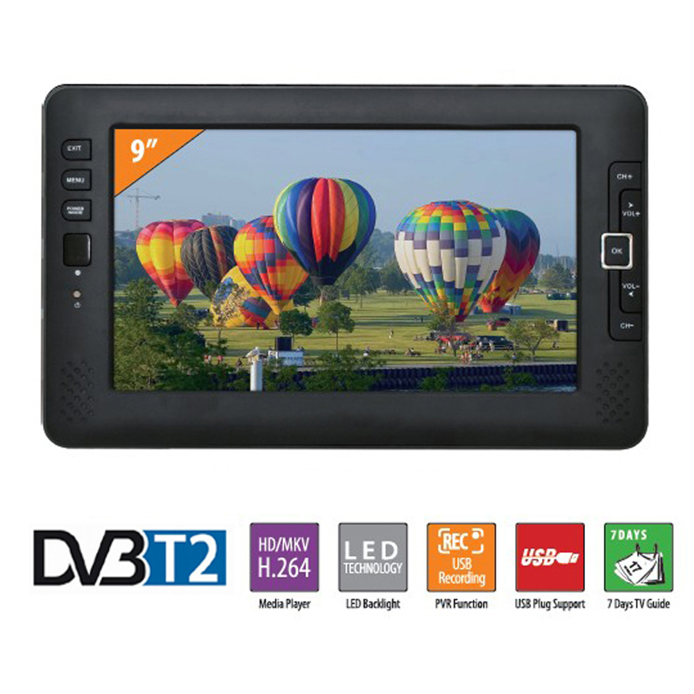 9inch Portable Car TV Television DVB-T2 digital Car TV With Receiver AV USB MP3 MP4 TV Program Recording Compatible Power Bank hot digital car tv tuner dvb t2 car tv receiver hdmi 1080p cvbs dvb t2 support h 264 mpeg4 hd tv receiver for car free shipping