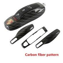 «3 части» Чехол для ключей Ключ Покрытие Оболочки Ремонт ungrade для Porsche Макан Boxster Cayman 911 Panamera Cayenne модель Углеродного волокна