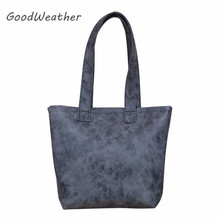 купить Handmade women shoulder bags high quality casual tote bag large capacity vintage big grey PU leather handbag for woman по цене 732.07 рублей