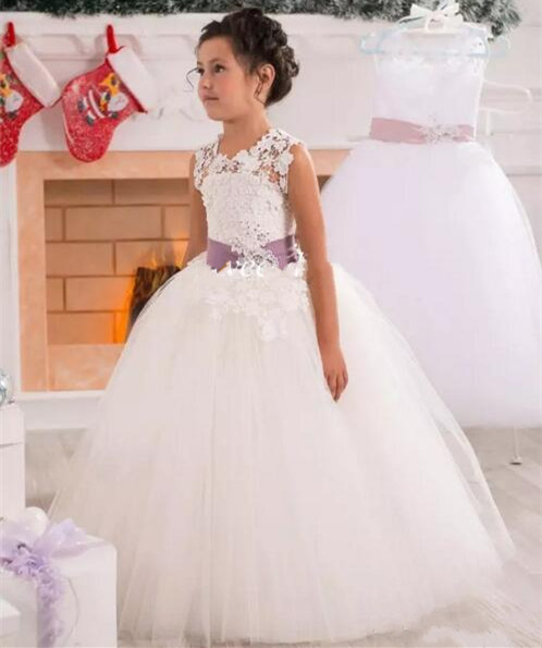 2019 Customized Flower Girl Dresses Lace Tulle Sheer Neck with Beaded Sash Girls First Communion Dress White Ivory Birthday Gown цены онлайн