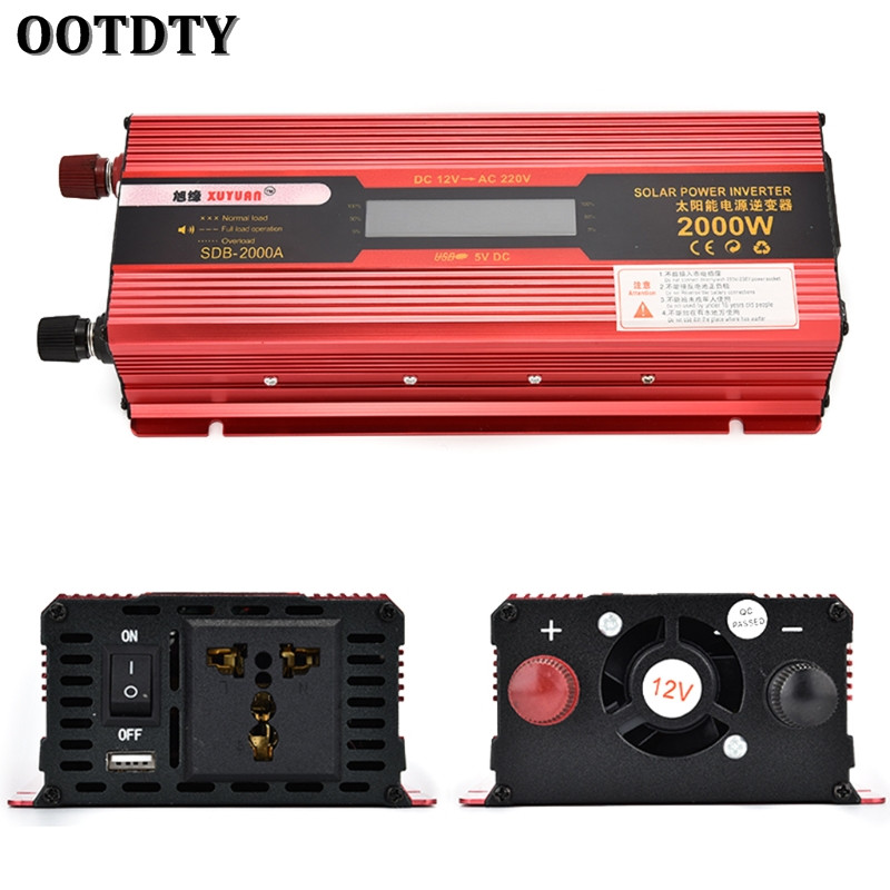 OOTDTY 2000 w Voiture LED Power Inverter Convertisseur DC 12 v/24 v À AC 110 v/220 v USB Chargeur