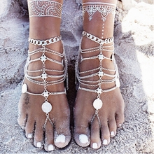 Summer Beach Anklet Fashion Barefoot Ankle Bracelet Jewelry Women Multilayer Silver-plated Alloy Coin Charming Anklet Jewelry