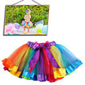 2-9Y New Fashion Children Girl Lovely Tutu Skirts Baby Ballerina Skirt Kids Chiffon Fluffy Casual  Rainbow 7 Colors party Skirt