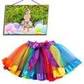 2-9Y Nueva Moda Muchacha de Los Niños Encantadores Faldas Del Tutú Del Bebé Cabritos de La Falda de La Gasa de La Bailarina Mullido Casual Rainbow 7 Colores del partido de La Falda