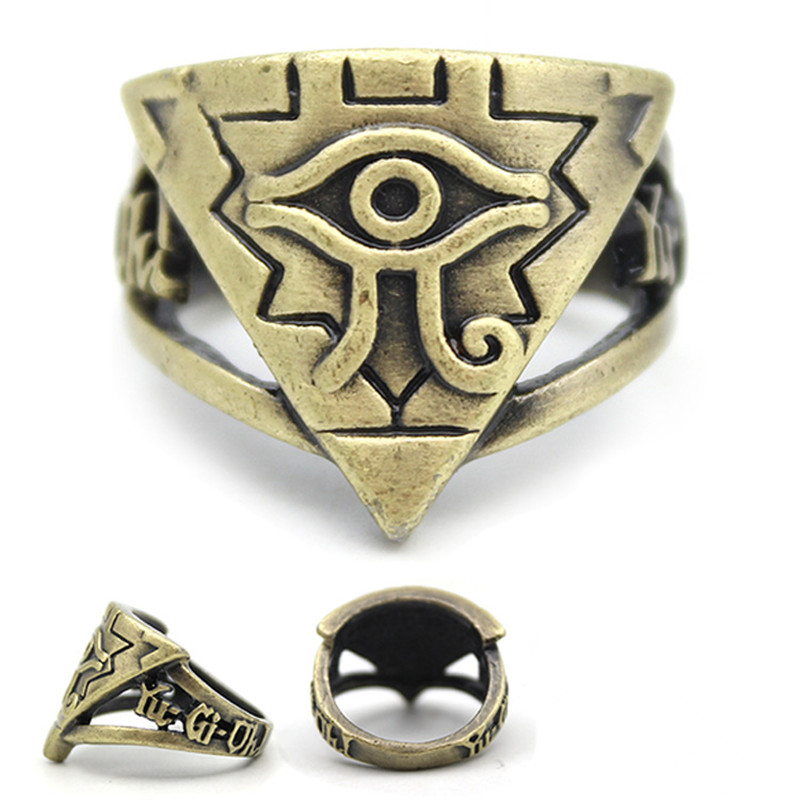 Classic Yu-Gi-Oh Ring Anime Yugioh Millenium Holder Toy Yu Gi Oh Cosplay Pyramid Egyptian Eye Of Horus Ring Holder Jewelry