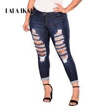 LALA IKAI Plus La Taille 2XL 3XL 4XL 5XL 6XL 7XL Femmes Jeans Denim  Détruits Maigre Maman Pantalon Taille Haute Déchiré Jeans . 327254fe94e8