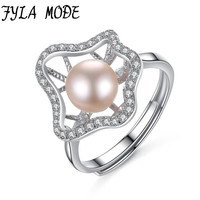 Fashion Hollow Flower Design 925 Sterling Silver Rings Pink 7 7 5mm Freshwater Pearls Bague Femme