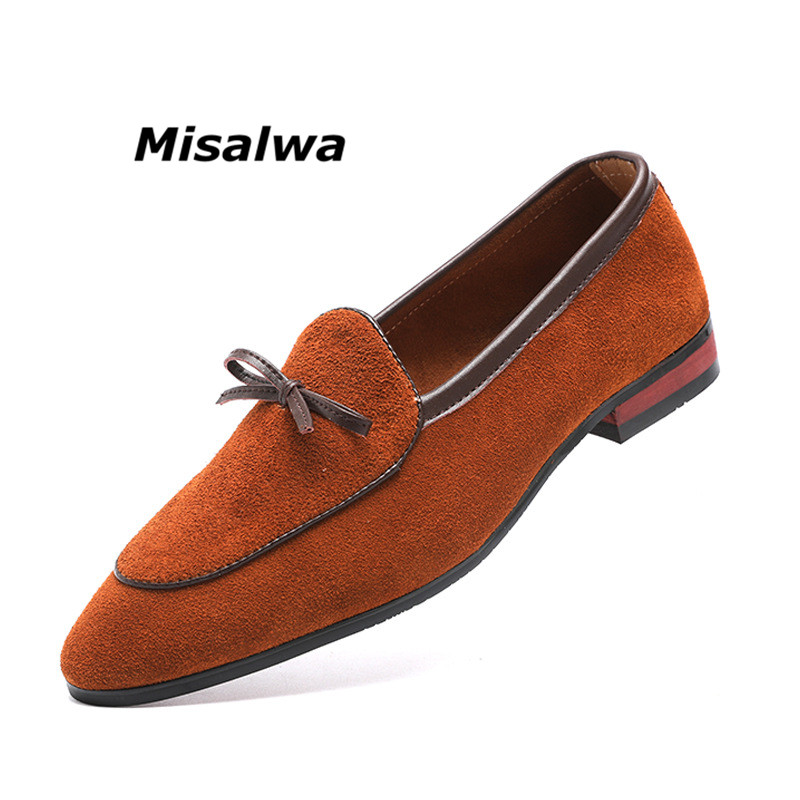 Misalwa Fashion Flat Single Shoes Male Leisure Suede Leather Slip On Shoes Peas Pointed Toe Bowknot Boat Shoes Plus Size 37 48 in Men 39 s Casual Shoes from Shoes