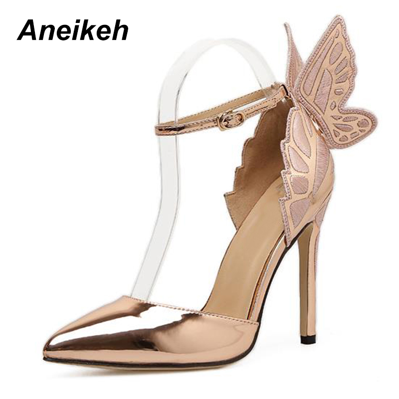 5de4d6129c4 Detail Feedback Questions about Aneikeh Fashion Butterfly Wing Top Sold  Buckle Strap Women Pumps Sexy Pointed Toe High Heel Women Party Shoes Size  35 40 on ...