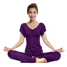 Breathable Lotus Leaf Sleeve Dance Cloths Women s Yoga Sets Modal Yoga Workout Suits Indoor Fitness
