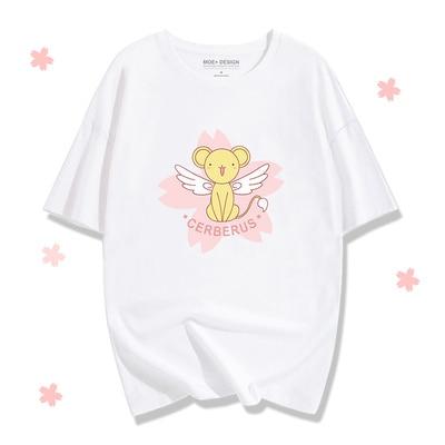 Аниме довец карт Сакура Kinomoto хлопковые футболки для женщин футболка с круглым вырезом короткий рукав Летняя одежда топы тройники - Цвет: Pattern 10
