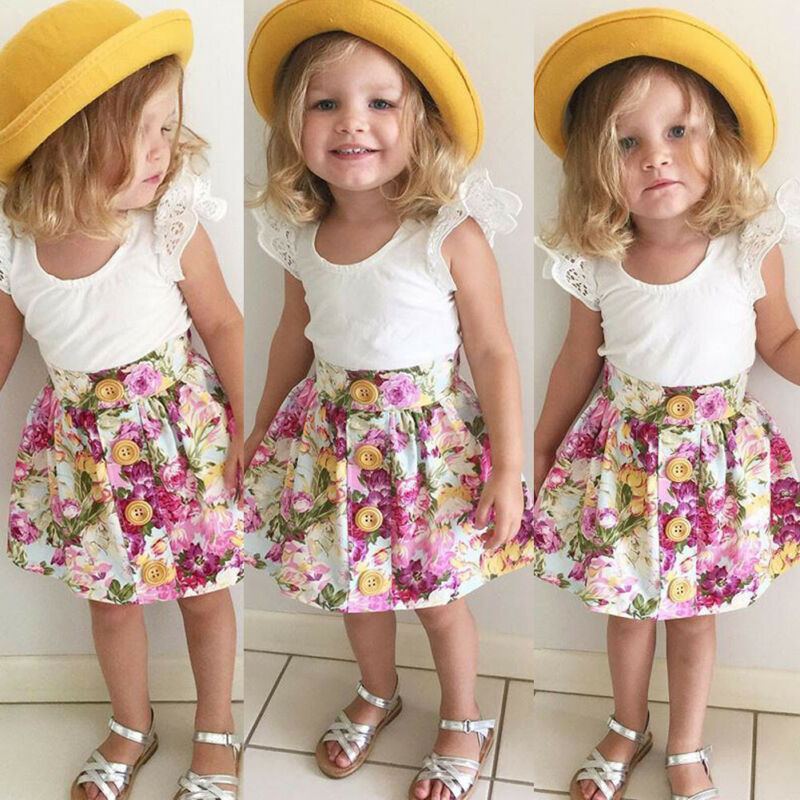New Fashion Baby Kids Girls Cotton Dress Cute Princess Sleeveless Floral Skirt Lace High-quality Dresses Summer Outfits
