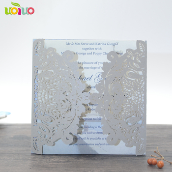 unique silver gray laser cut invitation card for wedding and party decoration lace fancy pearl paper invitation card model 50pcs