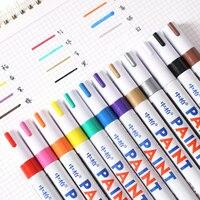 12 pcs sipa 3 MM en caoutchouc permanent peinture marqueurs étanche à base d'huile marqueur de couleur stylo en métal couleurs or ruban rouge blanc noir