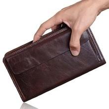 Luxury Male Genuine Leather Purse Men's Clutch Wallets Handy Bags Business Carteras Mujer Wallets Men Black Brown Dollar Price