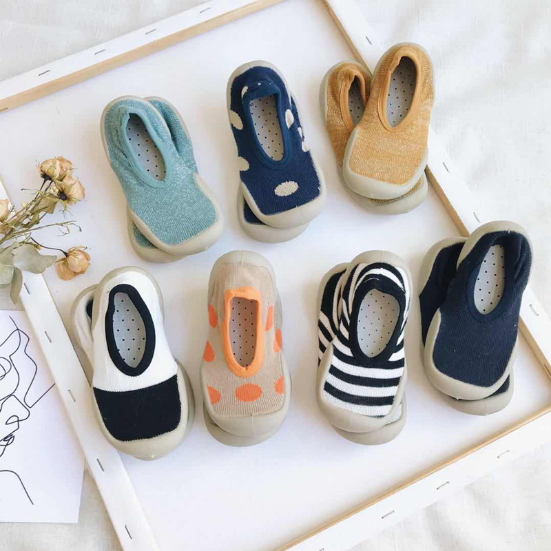 Non-slip Children Indoor Shoes Home Casual Slippers Baby Boy Socks Girl Outdoor Kids Elastic Fabric Knitted Soft Bottom Shoes