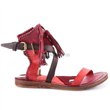 Vintage Design Frauen Echtem Leder Rosshaar Sommer Sandalen Casual Flache Schuhe Frau Gesäumten Gladiator Sandale Damen Wohnungen