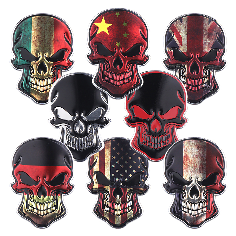 3D Aluminum Germany Italy UK France USA China National Flag Skull Emblem Badge Decal Truck Auto Motor Car Universal Sticker