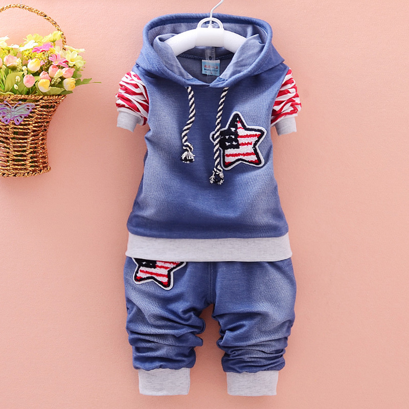 New 2016 fashion boy clothing cotton long-sleeved denim jacket + pants baby clothing 2 pieces of clothing baby clothing suit [free shipping] 2015 new arrival fashion female 1 4 years child love baby cashmere long sleeved jacket trousers leisure suit