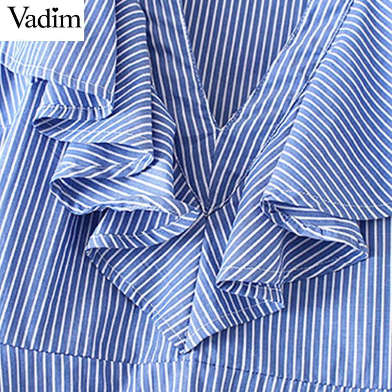 HTB1v4.eQXXXXXcIXFXXq6xXFXXXl - Women sweet ruffles striped blue v-neck short sleeve