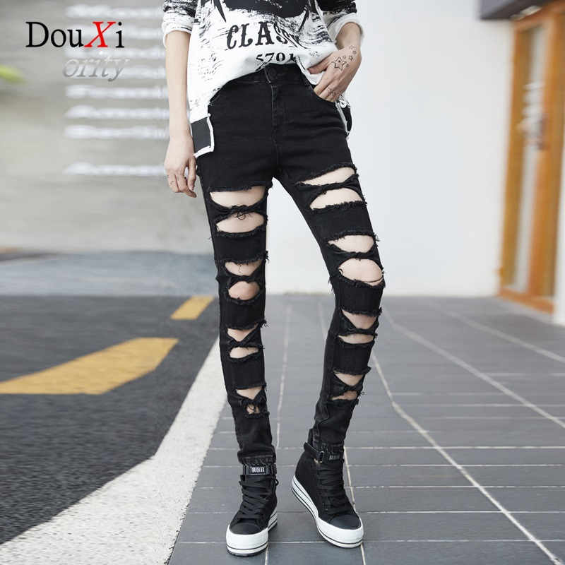 Women Jeans Boyfriend Pencil Pants Hole Ripped Casual Street Fashion Stretch Skinny Slim Denim Female Trousers Calca Jeans 2017 ripped jeans women casual denim ankle length boyfriend pants women floral embroidered flares hole female slim pencil pants