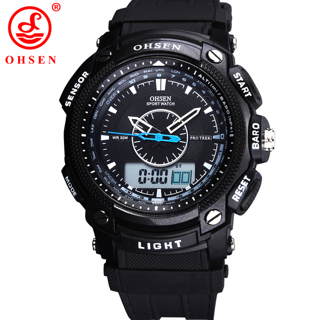 OHSEN Analog Relogio Digital Military Alarm Date Stopwatch Black Silicone Strap Wristwatch Quartz Watch Casual Men Sport Watches
