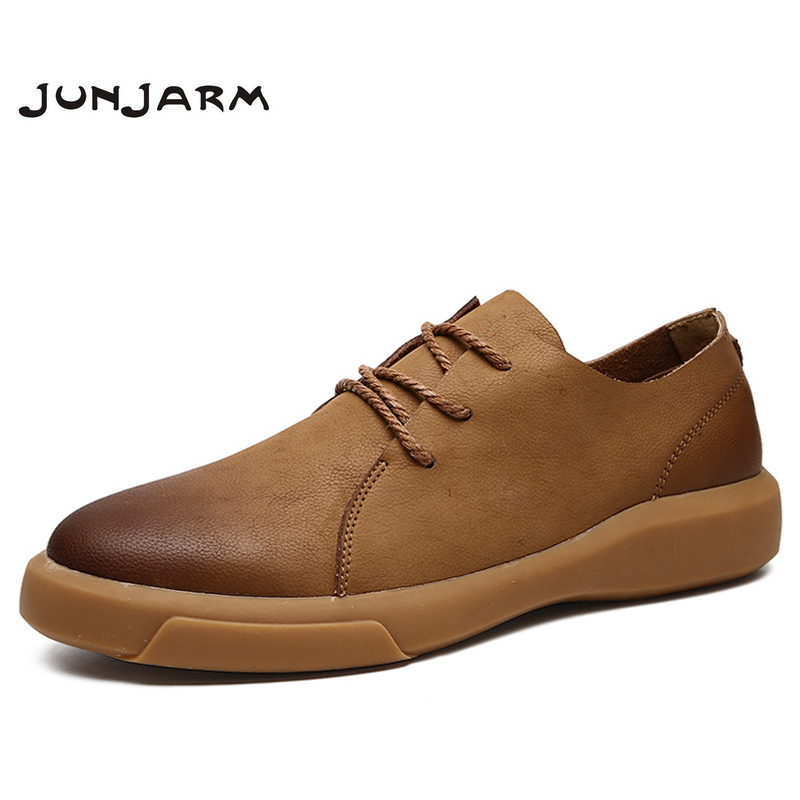 JUNJARM 2019 Genuine Leather Men Casual Shoes Quality Casual Men leather Loafers Soft Men Flats Hot Sale Moccasins Shoes 38-47