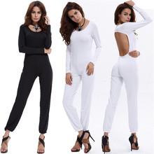 New European and American fashion personality slimming solid color temperament long-sleeved hollow ladies sexy jumpsuit