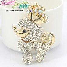 Симпатичные хрустальная корона собака брелок брелок мода горный хрусталь животных металлическое кольцо подарок ювелирные изделия кошелек шарм сумка подвеска
