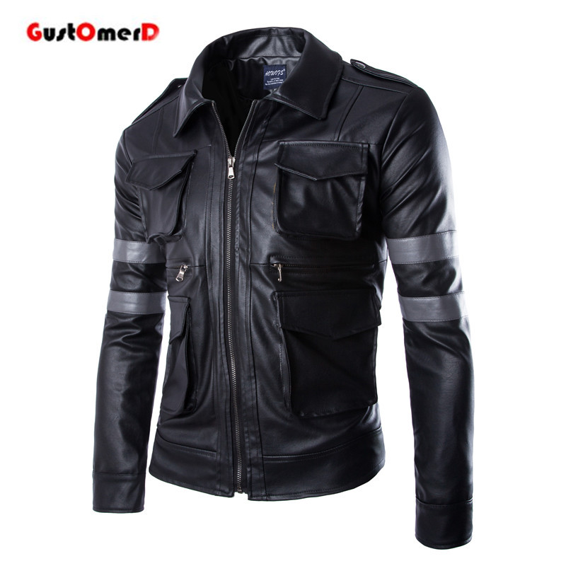 2016 New Male Outwear Coat Top Quality Patchwork Motorcycle Leather Jackets Slim Fit PU Leather Jacket