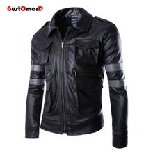 2016 neue Männliche Outwear Mantel Top Qualität Patchwork Motorrad Lederjacken Slim Fit Pu-lederjacke Campera Cuero Hombre