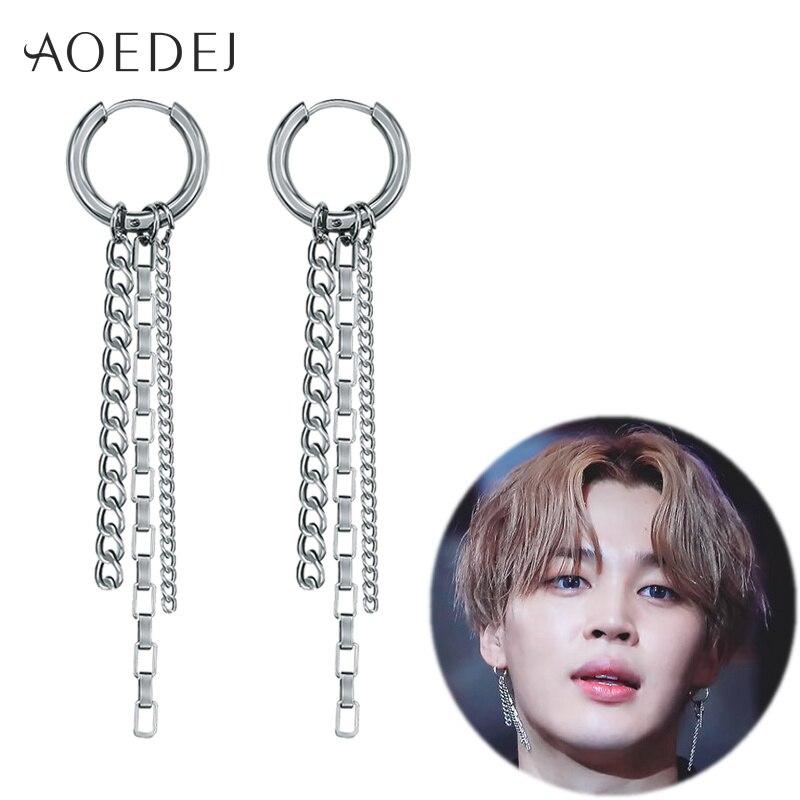 AOEDEJ BTS Jimin Earrings Album BTS Bangtan Boys Accesorios BTS Kpop Korean Earrings Men Womens Tassels