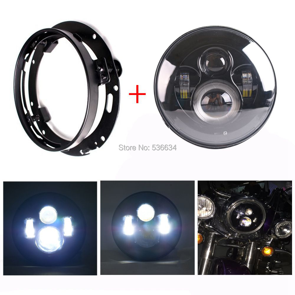 7 Inch LED Projector Daymaker Headlight With LED Headlight Mounting Bracket Ring For Harley Davidson Softail Slim