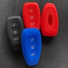 Автомобильный ключ аксессуар чехол силиконовый Hodler для Ford Kuga Focus Ecosport Fiesta Mondeo C-Max B-Max 3 кнопки Smart Remote Shell