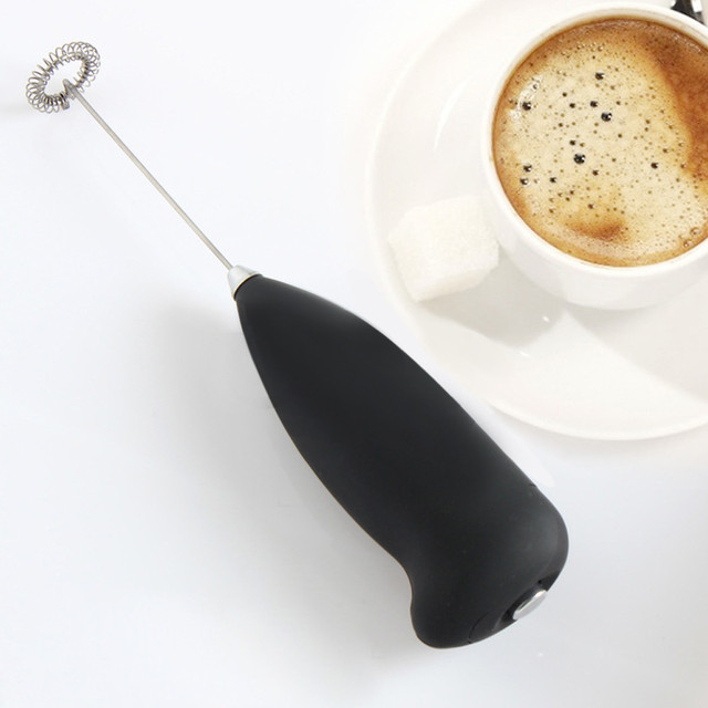 Black Handheld Milk Frother Wand Battery Coffee And Foam Maker Stainless Steel Whisk For Italian