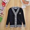 Ropa para niños otoño de los niños 100% jersey de algodón para hombre estilo preppy informal suéter con cuello en v