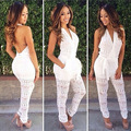 2015 Hot New Women  Spring Summer Celebrity Lace see throught Jumpsuit Sexy Women Club Bandage Rompers Bodysuit vestidos catsuit