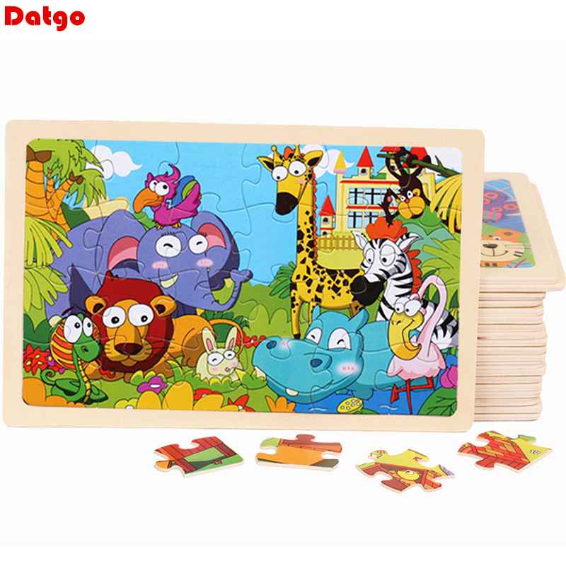 24 Pieces Kids Wooden Puzzle Toy Cartoon Animal Baby Wood Puzzles Jigsaw Educational Learning Toys for Children(China)