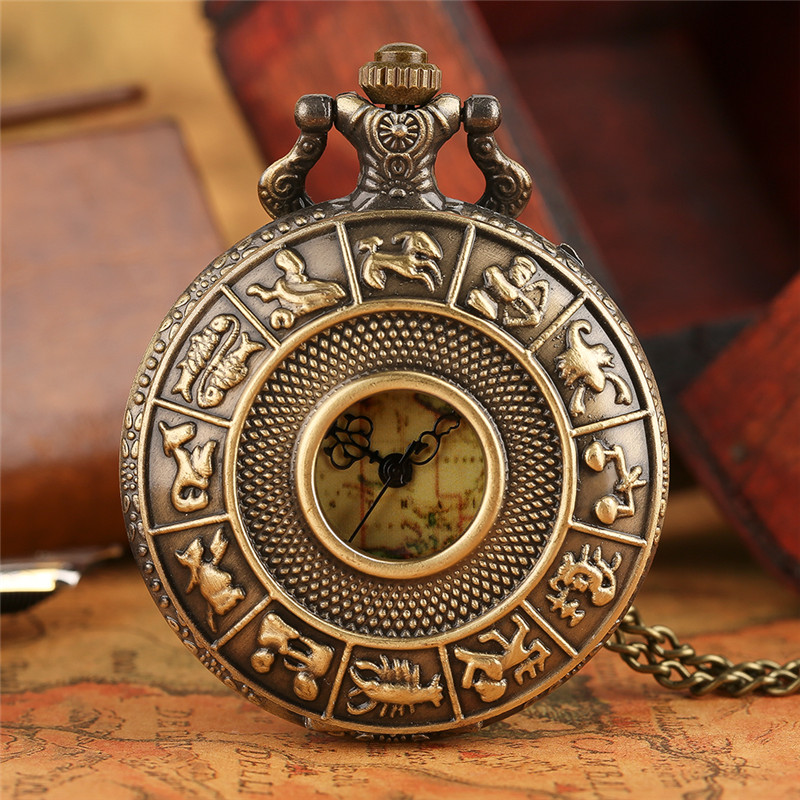Retro Bronze Zodiac Constellation Case Hollow Necklace Pocket Watch Modern Australia Map Pendant Fashion FOB Chain Jewelry Clock