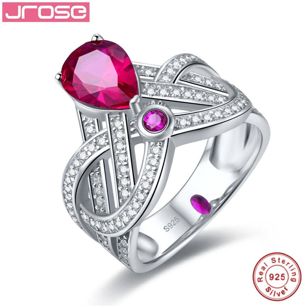 Jrose couronne poire coupe bijoux fiançailles anniversaire bague rouge féminin vrai 100% 925 Standard bague en argent Sterling livraison gratuite