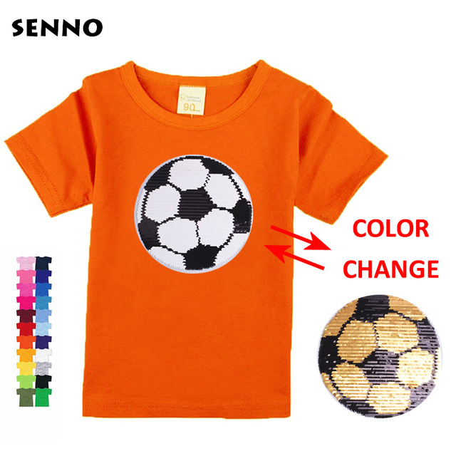Kids boys girls t shirts with sequin color change face magic discoloration sequin top kids t shirt for boys 2-13 years
