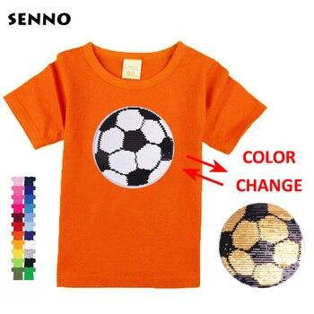 c0d32caa3 Niños niños niñas t camisas con lentejuelas color cambiar la cara de magia  decoloración top de lentejuelas niños t camisa para niños 2 -13 años