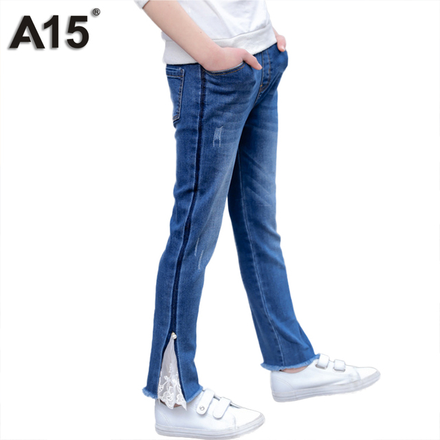018dc08357df A15 Kids Girls Jeans Pants 2018 New Girls Pants Spring Children Trousers  Outfits Baby Fashion Denim Trousers 3 4 6 8 10 12 Years