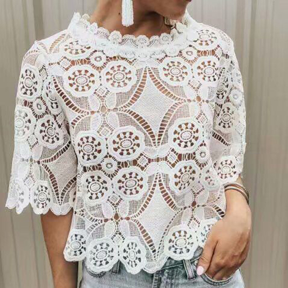 Summer Fashion Lace Hollow Out Blouse Sexy Crop Tops Ladies Tee Tops Female Women's Half Sleeve Shirt Blusas Femininas Pullover
