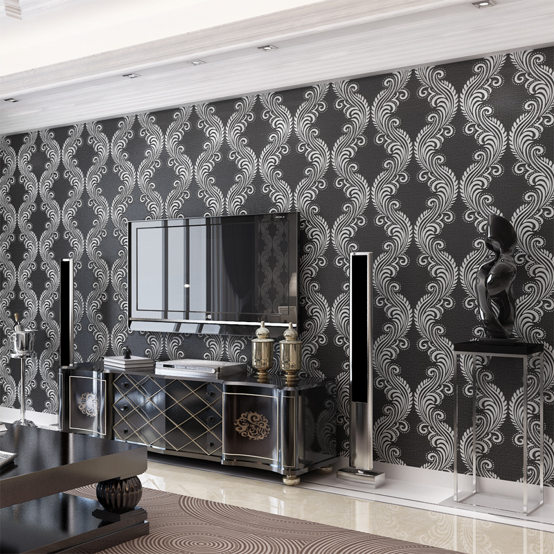 Modern Chinese Style Black Wallpaper Rolls for Living Room TV background 3d wall wallpaper Home Decor 3d Wall paper for Cafe modern wallpaper for walls black white leaves pattern bedroom living room sofa tv home decor luxury european wall paper rolls