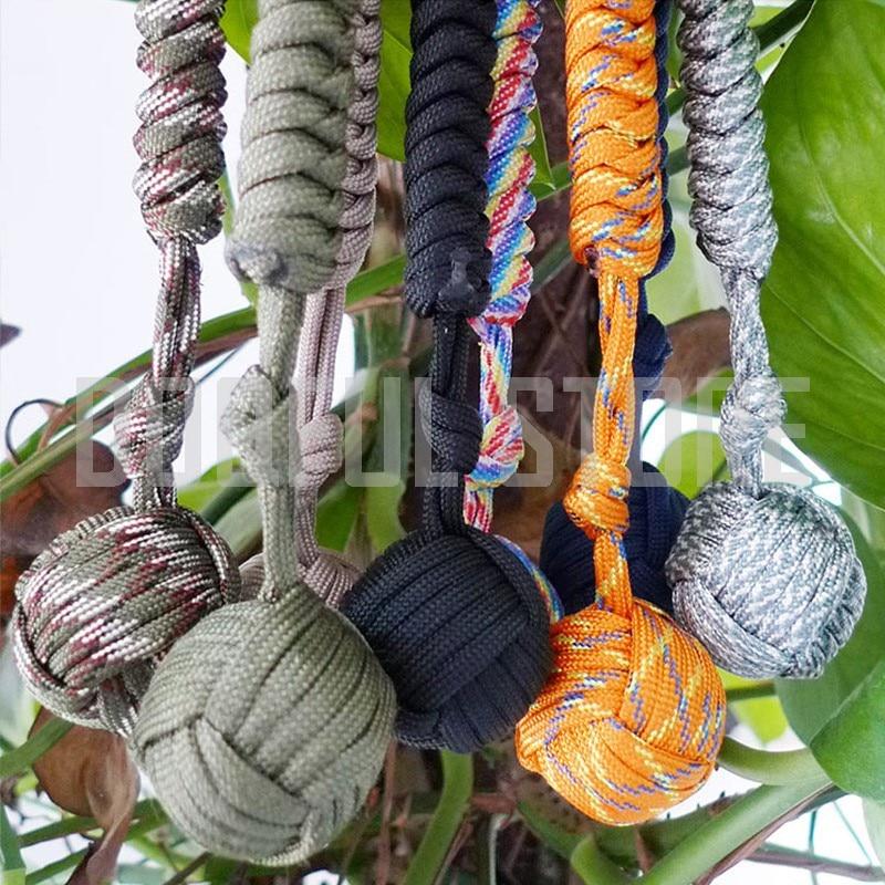Купить с кэшбэком 100pcs/lot Tactical EDC Steel Ball Umbrella Rope Keychains Self Defense Handmade Paracord Emergency Survival Parachute Cord Ring