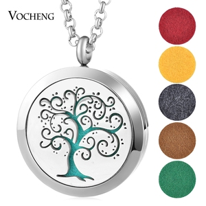 30mm Aromatherapy Diffuser Locket Necklace Feather 316L Stainless Steel Magnetic Randomly Send 10pcs Oil Pads as Gift VA-1011(China)