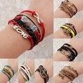 Charm Vintage Multilayer Charm Leather Bracelet Women Owl Cross Believe Bracelets Cheap Statement Jewelry Lady Best Friends