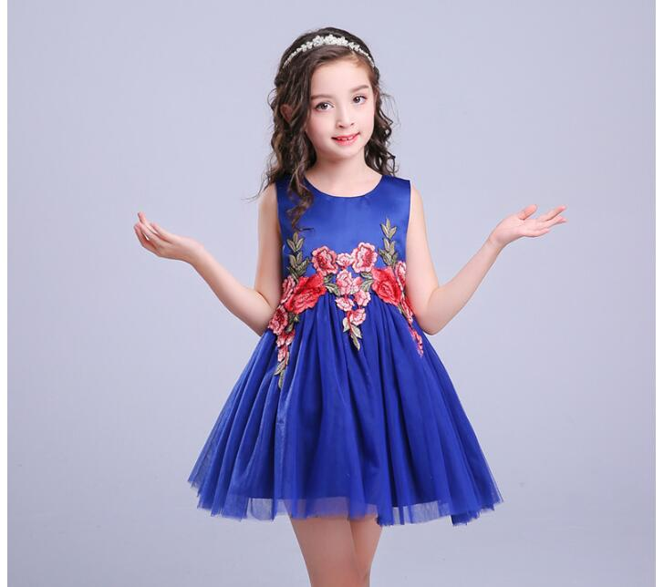 Luxury  Girls Dress Mesh Pearls Children Wedding Party Dresses Kids Evening Ball Gowns Formal Baby Frocks Clothes for Girl kids dresses for girls lace flower girl dress 2017 new princess party wedding dress fashion baby formal evening children clothes