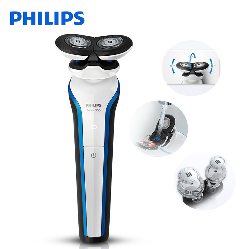 100% Original Philips Electric Shaver S566 Rechargeable 2 Blade Rotate Electric Shaver Face Beard Electric Razor For Men Wet&Dry kemei men s electric shaver cordless rechargeable reciprocating razor wet and dry use beard trimmer men s face care tool km 2016